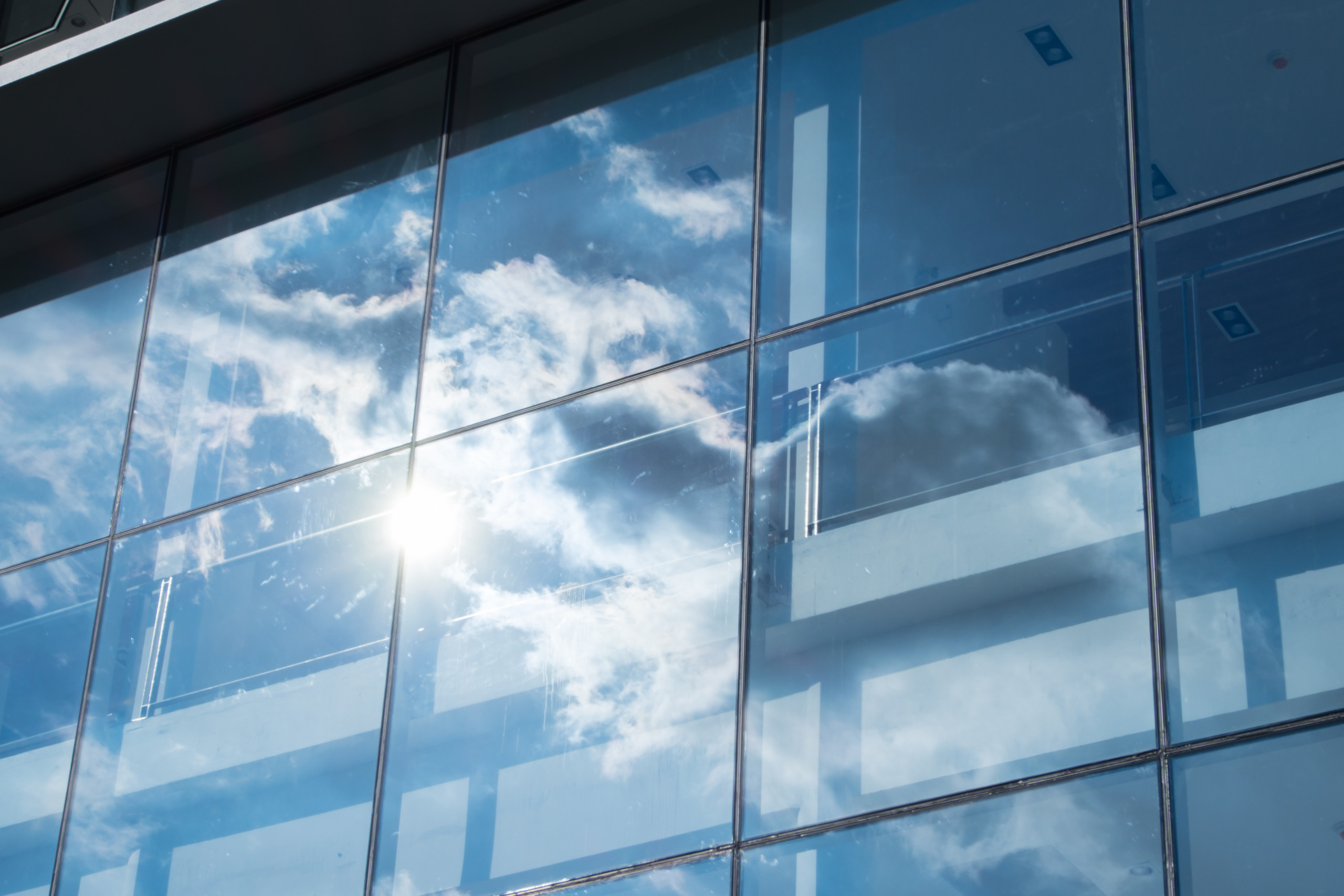 Cloud reflection on glass